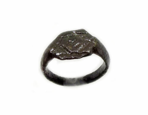"Ancient Engraved Roman Syria Ring Six-Sided ""Star of David"" + Symbols Sz6½ AD400"