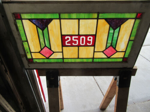 ~ ANTIQUE STAINED GLASS TRANSOM WINDOW ~ 32 X 18 ~ ADDRESS 2509 ~ SALVAGE