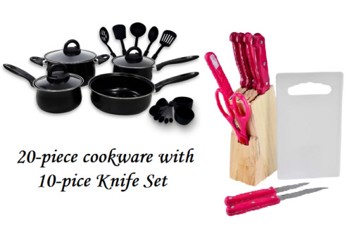 Keimav 20-piece Cookware with Nylon Utensil w/ 10-piece Knife Set(Pink) <br/> Paypal Accepted✔Same Business Day*Dispatch✔Powerseller✔