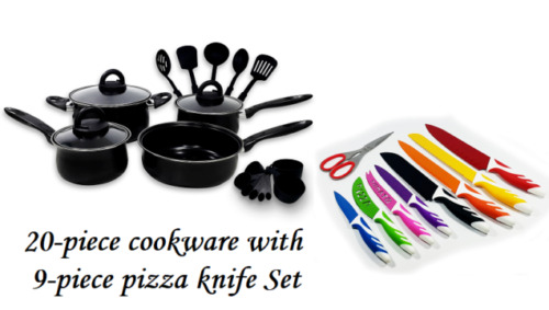 Keimav 20-piece Cookware with Nylon Utensil w/ 9-piece pizza knife Set <br/> Paypal Accepted✔Same Business Day*Dispatch✔Powerseller✔