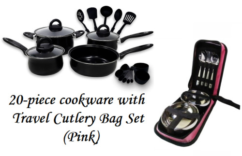 Keimav 20-piece Cookware with Nylon Utensil w/ Travel Cutlery Set (pink) <br/> Paypal Accepted✔Same Business Day*Dispatch✔Powerseller✔