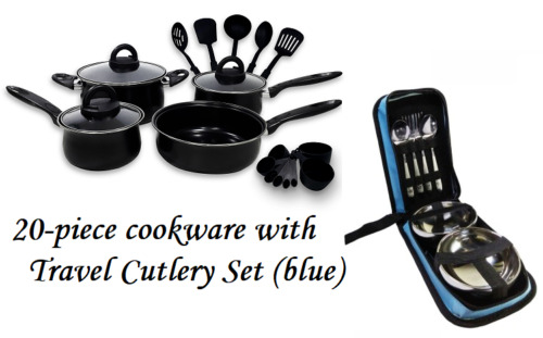 Keimav 20-piece Cookware with Nylon Utensil w/ Travel Cutlery Set (blue) <br/> Paypal Accepted✔Same Business Day*Dispatch✔Powerseller✔