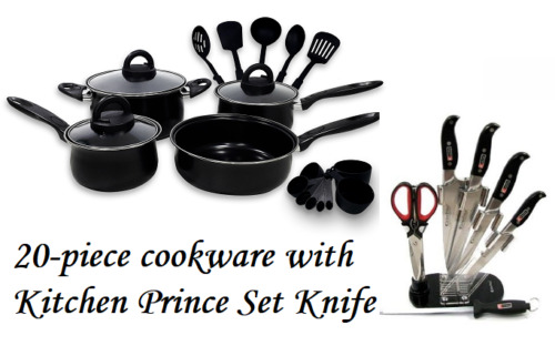 Keimav 20-piece Cookware with Nylon Utensil w/ Kitchen Prince Knife Set <br/> Paypal Accepted✔Same Business Day*Dispatch✔Powerseller✔