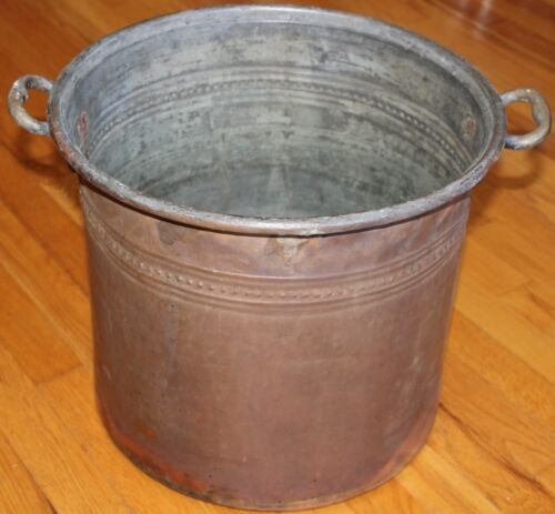 "Turkish 15""x13"" Antique Handmade Copper Boiler Planter Cauldron Pot w/ Handle"