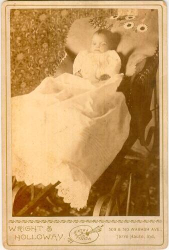 Cabinet Card Photograph Port Mortem Baby -Dead in Carriage Terre Haute c.1890