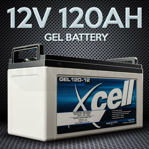 X-CELL AGM Deep Cycle Battery 12V 120Ah Portable Sealed SLA Camping Solar Marine <br/> Absorbent Glass Mat Technology, Bolt Down Terminals