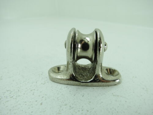 3/4 INCH CHROME OVER BRONZE DECK PULLEY BLOCK BOAT SHIP BRASS TACKLE (#228)