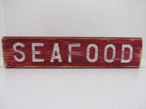 15 INCH WOOD HAND PAINTED SEAFOOD SIGN NAUTICAL MARITIME (#S645)