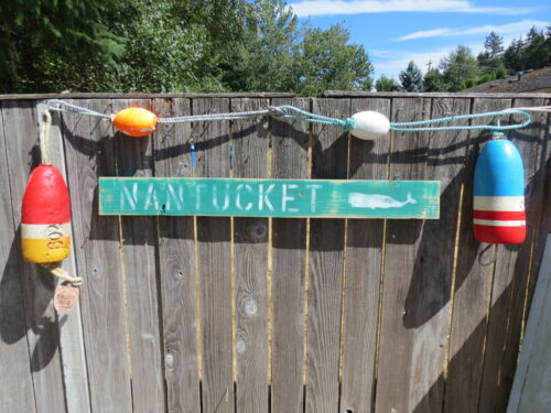 48 INCH WOOD HAND PAINTED NANTUCKET WHALE SIGN NAUTICAL SEAFOOD (#S829)