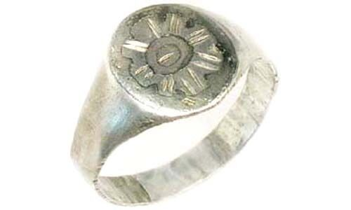 AD900 Ancient Roman-Byzantine Constantinople Istanbul Starburst Silver Ring Sz6½