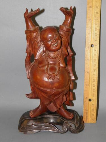 ANTIQUE HAND CARVED WOOD STANDING HAPPY LAUGHING BUDDHA STATUE SIGNED