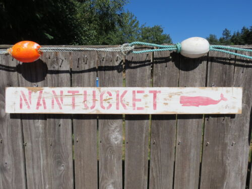 48 INCH WOOD HAND PAINTED NANTUCKET WHALE SIGN NAUTICAL SEAFOOD (#S813)