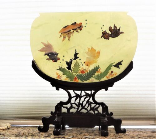 """Chinese 20thC. Large 12""""x13.5"""" Jade Coral Turquoise Carnelian Agate Table Screen"""