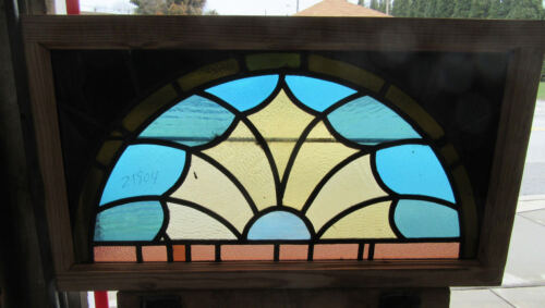 ~ ANTIQUE STAINED GLASS TRANSOM WINDOW ~ 40 x 23 ~ ARCHITECTURAL SALVAGE