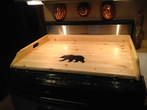 Modern Farmhouse Wood Stove Top Cover wood finish with Black Bear   30 x 22 x 3