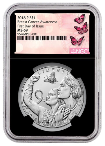 2018-P Breast Cancer Awareness Silver Dollar Coin NGC MS69 FDI Black SKU53340 <br/> Buy With Confidence from ModernCoinMart (MCM) on ebay