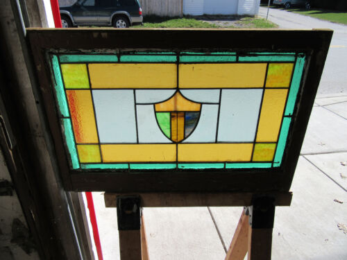 ~ ANTIQUE AMERICAN STAINED GLASS WINDOW ~ 36 x 24 ~ ARCHITECTURAL SALVAGE ~