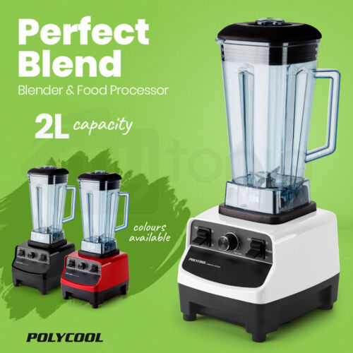 POLYCOOL 2L Commercial Blender Mixer Food Processor Smoothie Ice Crush Fruit <br/> 2200W Motor. 10 Speed Variable Dial. Tamper Included.