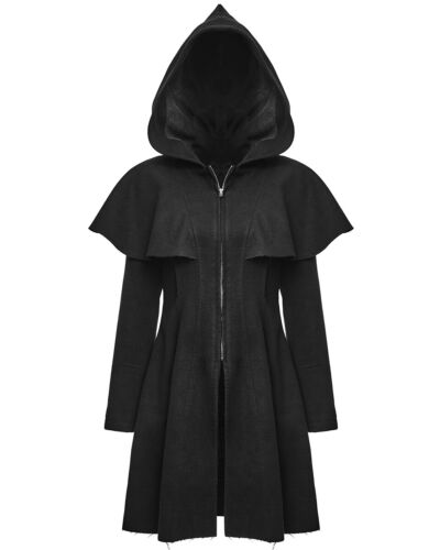 Punk Rave Womens Hooded Coat Jacket Black Gothic Punk Witch Occult Cloak