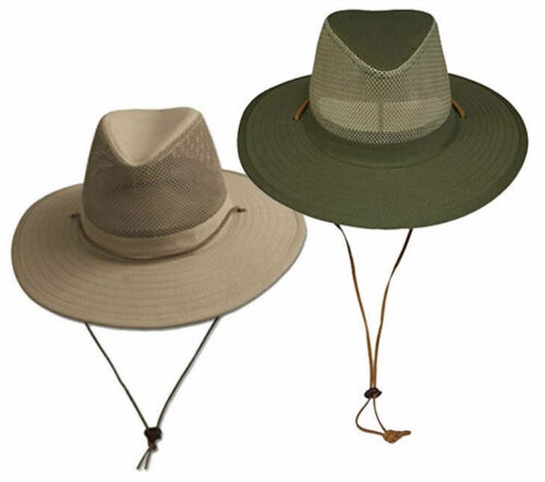 Wide Brim Bucket Hat UPF-50 Sun Protection w/ Mesh Crown Breathable Crushable