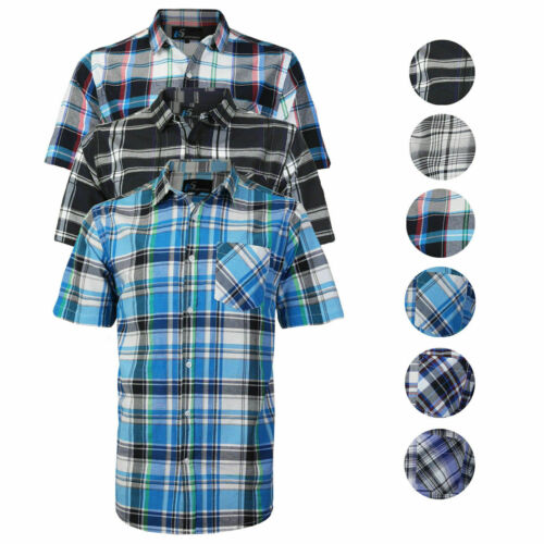 Men's Plaid Checkered Button Down Casual Short Sleeve Regular Fit Dress Shirt