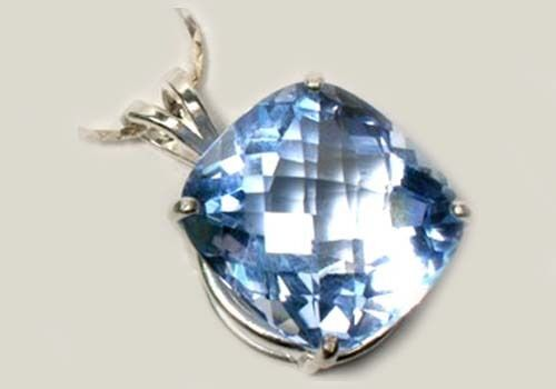 Blue Topaz Pendant 35ct Handcrafted - Medieval Medical Cure for Arthritis Fever