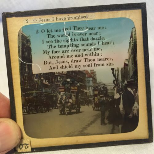 Magic Lantern Glass Slide w Hymn O Jesus I Have Promised: Busy 19th c City Scene