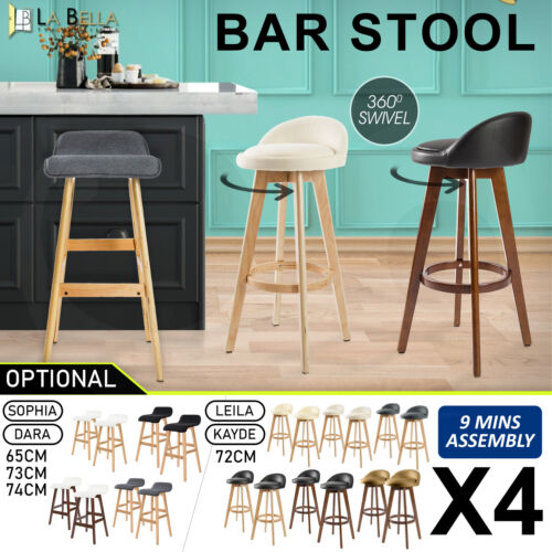 4X Oak Wood Bar Stool Wooden Barstool Dining Chair Kitchen Swivel PU Fabric <br/> ✔Large Variety ✔Rainforced Footrest ✔Anti-Scrach