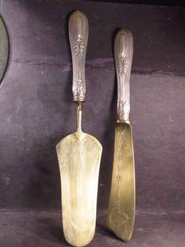 .800  Silver Vintage 2pc KNIFE AND CAKE SERVER Engraved Blades Unknown Country