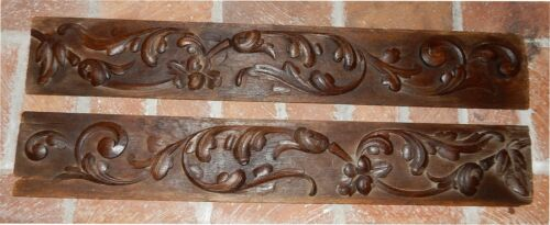 Pair of Antique 18th Century English Oak Leaf Carved Architectural Panels C 1780