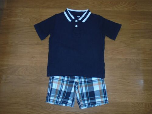 Gymboree Dino Mighty plaid shorts & matching polo shirt outfit set size 3T