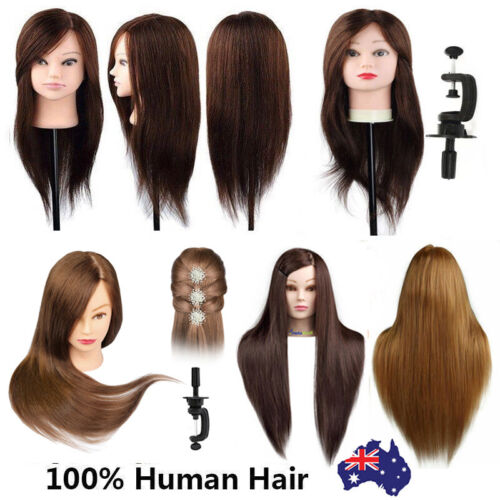 100% Real Human Hair Practice Hairdressing Training Head Mannequin Doll + Clamp <br/> AU Stock✔ Fast Postage✔ High Quality✔ Top Seller✔