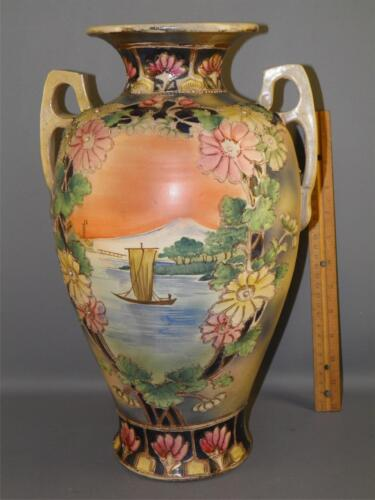 ANTIQUE ASIAN CHINESE HAND PAINTED FLORAL SCENIC VASE 15.5'' HIGH
