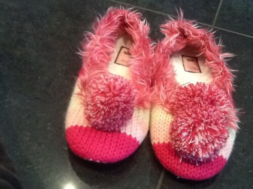 Juicy Couture New & Genuine Ladies Pink/Cream Knitted Slippers UK 3 EU 36.5
