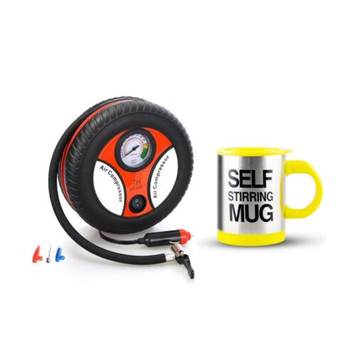 260PSI Auto Car Electric Tire Inflator with Self Stirring Mug (Yellow) <br/> Same Business Day* Dispatch✔ Powerseller✔