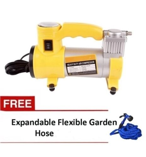 12V Portable Heavy Duty Car Air Compressor (Yellow) with Expandable Hose 125ft <br/> Same Business Day* Dispatch✔ Powerseller✔
