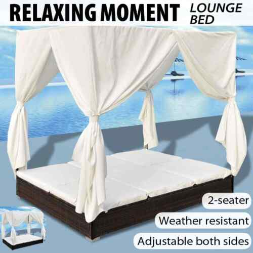 vidaXL Sunlounger with Curtains Poly Rattan Outdoor Lounge Bed Brown/Black