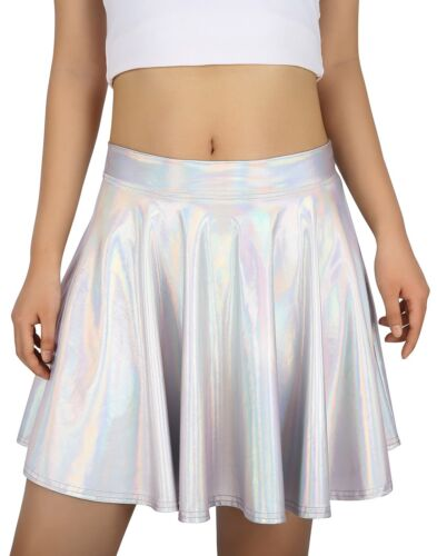 Women's Shiny Liquid Metallic Holographic Pleated Flared Mini Skater Skirt