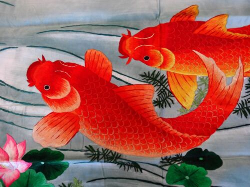 Handwoven Silk Chinese Embroidery - 9 koi fishes (200 cm x 91 cm) #5