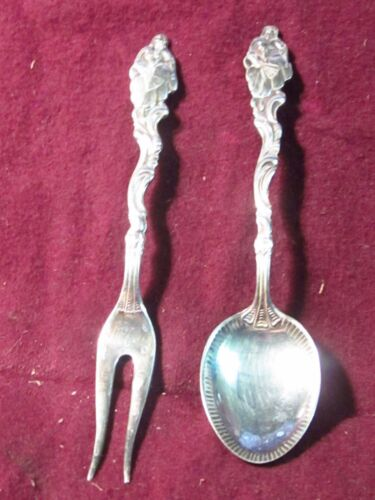 "Silverplate Vintage Sweden  SMALL FORK & SPOON  4""  Lady With Fan No Mono"