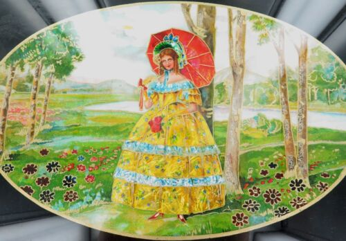 .STUNNING ART DECO ERA HANPAINTED AND FOIL (MULTI-MEDIA) LARGE SERVING TRAY.