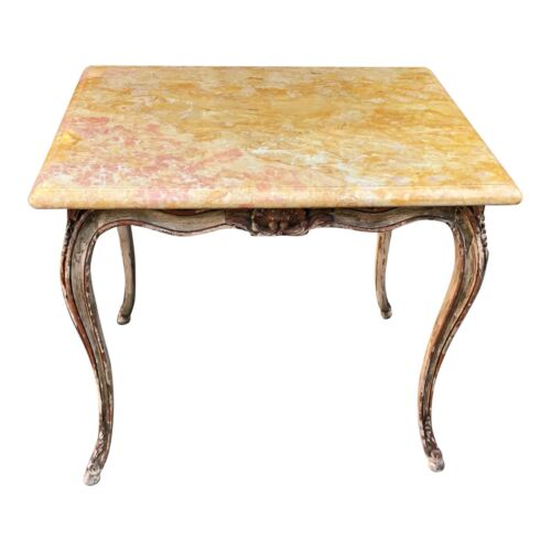 Antique Carved Italian Painted Walnut Side Table W Sienna Marble Top
