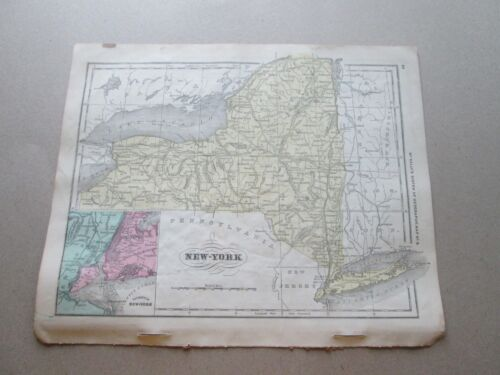 """(1) 1860  """"MAP OF NEW YORK""""  FRANCIS McNALLY'S """"SYSTEM OF GEOGRAPHY"""""""