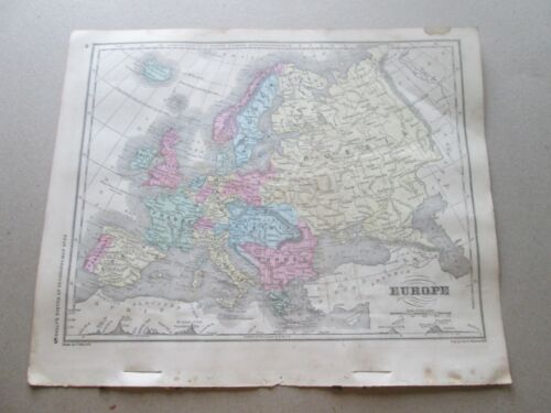 "(1) 1860  ""MAP OF EUROPE""  FRANCIS McNALLY'S ""SYSTEM OF GEOGRAPHY"""
