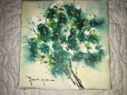 VINTAGE daisy original hand painted oil PAINTING floral flower on canvas signed
