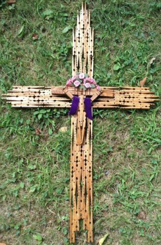 Large Cross Crucifix Clothes Pins Folk Art Vintage Estate Find Well Done