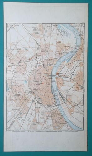 1936 MAP - GERMANY German Reich Cologne Koln City and Town Center Plan