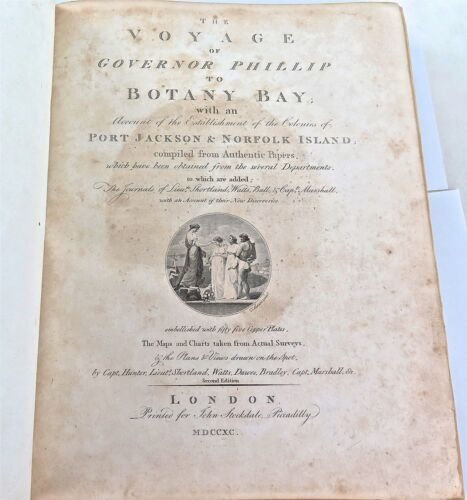 """.RARE 1790 2ND EDITION """"THE VOYAGE OF GOVERNOR PHILLIP TO BOTANY BAY"""" LARGE BOOK"""