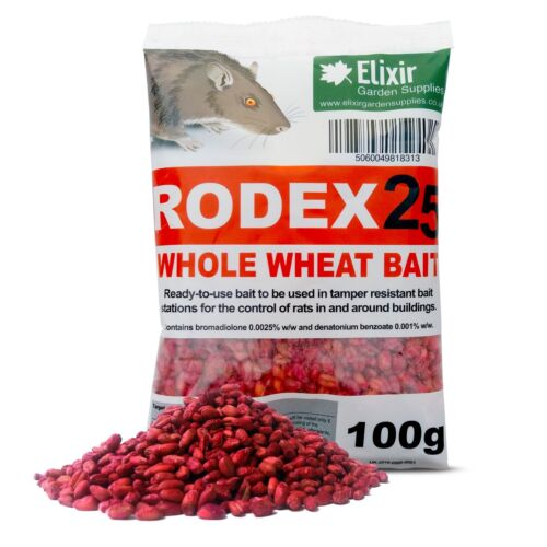 Rodex25 Whole Wheat Rat Poison, Strongest Available Online, 100g Sachets