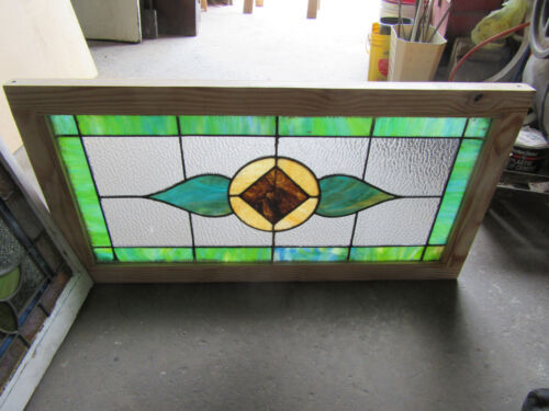 ~ ANTIQUE STAINED GLASS TRANSOM WINDOW ~ 40 x 21 ~ ARCHITECTURAL SALVAGE